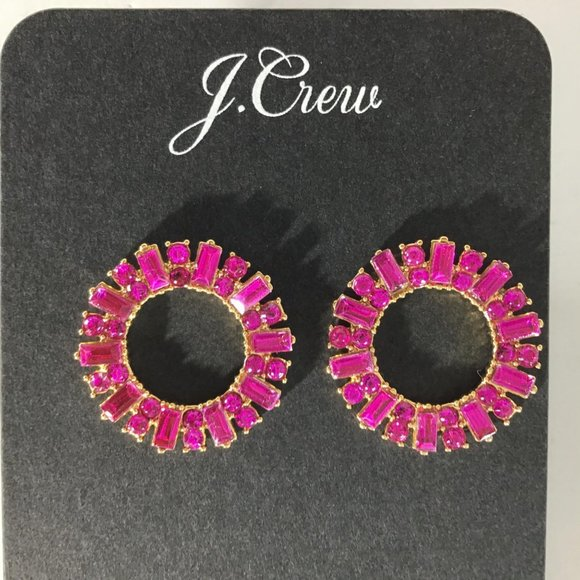 J. Crew Jewelry - J.Crew Pave Circle Crystal Earrings